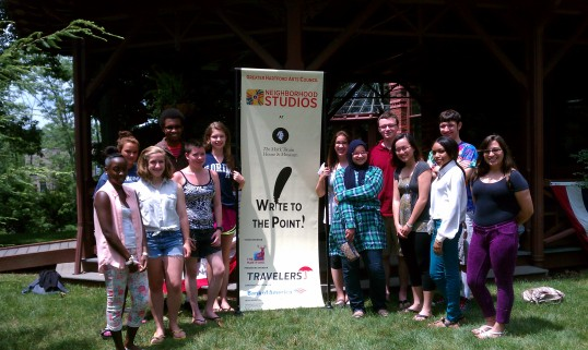Writing apprentices, from left, Jahyra White, Indira Senderovic, Molly Miller, Rae Martin, Nick Sherman, Ambriel Johnson, Cecilia Gigliotti, Lina Allam, Grant Henry, June Tran, Ashaya Nelson, Alan Berkholder, Meaghan Szilagyi, in front of the Mark Twain House.